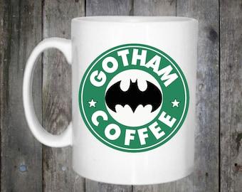 Batman Gotham Starbucks Inspired Coffee Mug 10oz DC Comics
