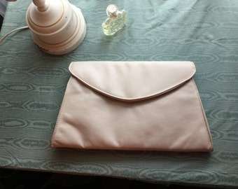 Vintage Winter White Leather Clutch with strap