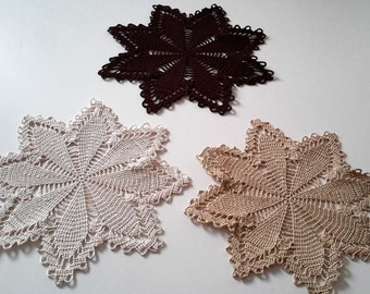 trio of placemats shape star, Brown, beige, off-white