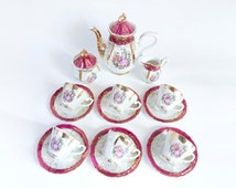 Coffee service / the Pearly porcelain style Fragonard / 6 pers