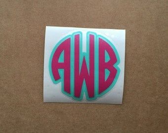 Two Color Circle Monogram Decal