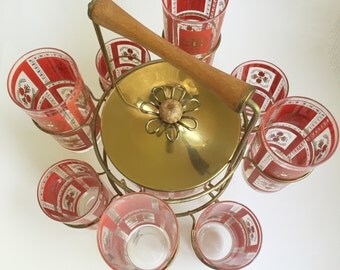 Red and Gold set of 8 glasses, Ice bucket and wire frame