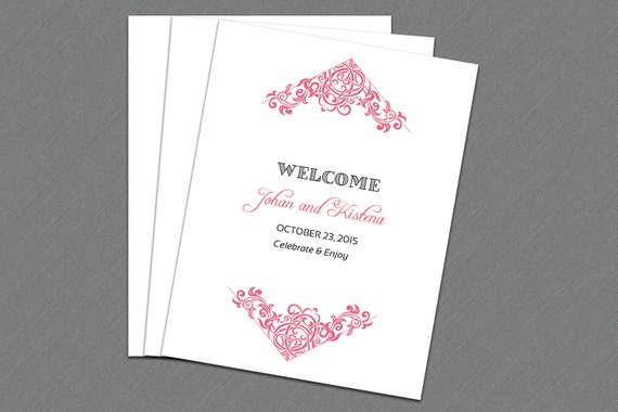 Wedding Welcome Basket Tag Wedding Favor tag Template wedding bag ...