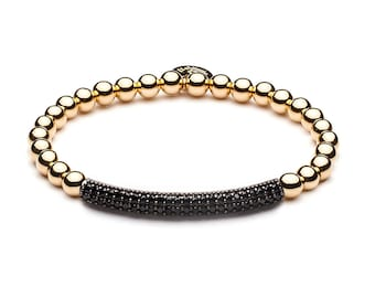 Limited Pavé tube ball bracelet gold / black