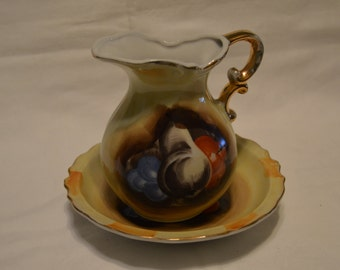 Artmark Hand Painted Pitcher and Basin Japan Vintage Item #282