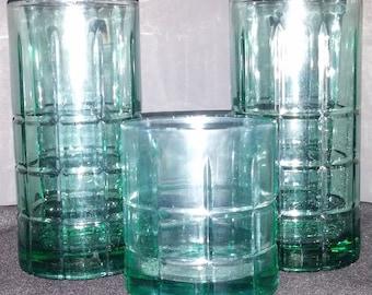 Vintage Anchor Hocking Blue-Green Drinking Glasses