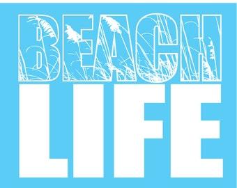 BEACH LIFE Tee Shirt ,Relax on the Beach, Sand Oats Adult  Screen Printed
