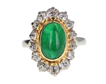 1950s Cabochon Emerald and Diamond Cluster Ring