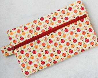 Zipped make up bag cosmetic pouch ladybird ladybug women novelty