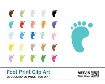 Foot Print Clip Art - Baby Foot Prints - Clip Art - Baby Shower Supplies - Scrapbooking Supplies