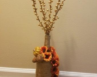 Fall fullage twine decorative wine bottle
