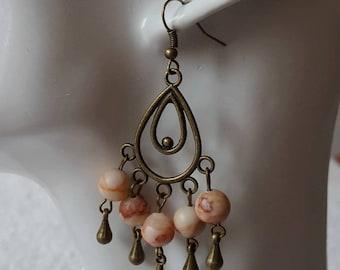 Rhodochrosite & earrings vintage earrings pink jewelry dangle earrings romantic earring chandelier gemstone