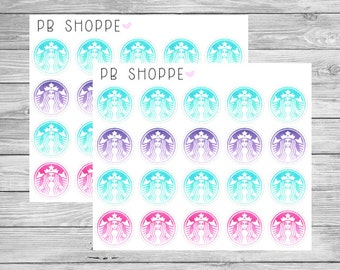 20 Watercolor Coffee Stickers