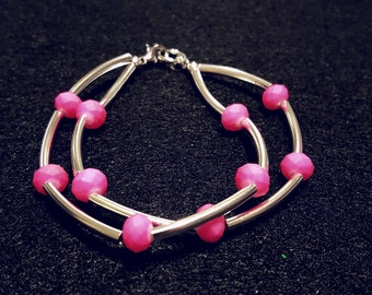 Bangle style Neon Pink and Silver beaded bracelet