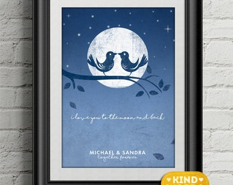 love you to the moon and back...personalised print