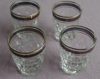 Vintage Shot Glasses Set of Four Burgundy Gold Trim