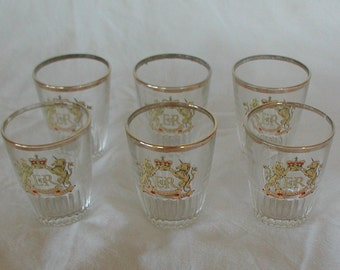 Vintage Set of Six Coronation Shot Glasses Commemorative Collectible Elizabeth II 1953