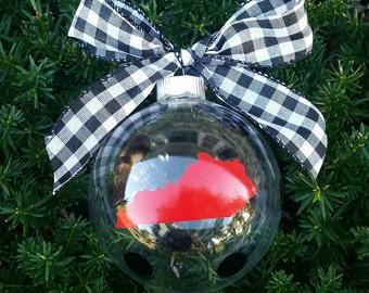 Polka Dot Red and Black Glass Ball Ornament