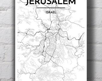 B&W Jerusalem City Map Print