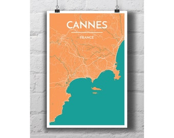 Cannes, France - City Map Print