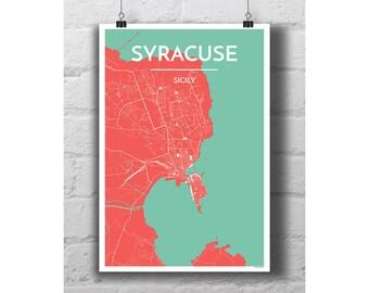 Syracuse, Sicily - City Map Print