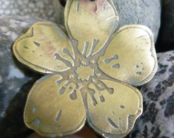 brass cherry blossom pendant ooak - aged