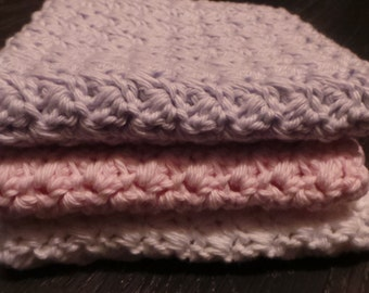 Set of 3 Cotton Crochet Washcloths, White, Pink and Lilac.