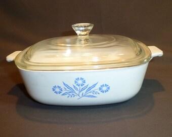 Vintage 1960s Cornflower Blue Corningware Lidded Casserole Baker