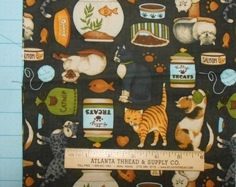 Cats on Black Cotton Fabric Fat Quarter 18 X 22
