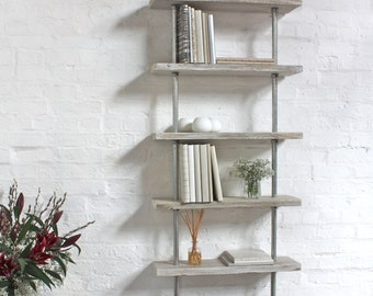 Robyn Adjustable Reclaimed white-washed Scaffolding Boards and Galvanised Steel Pipe Shelves/Bookcase - Bespoke Furniture by www.