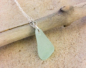 Sea Foam Green Sea Glass Sterling Silver Necklace Coca Cola Coke