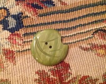 Vintage Casein Green Leaf Button.