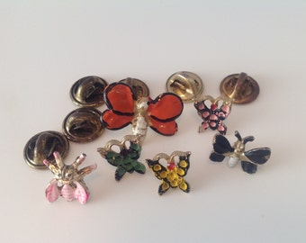 Set of 6 Vintage Butterflies Pins. Hand Painted.