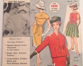 Australian Home Journal. March 1963. Sewing. Knitting. Recipes.