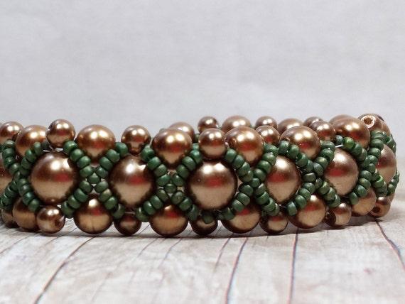 Bead Woven Pearl Bracelet, Hand Woven Bracelet, Pearl Bead Bracelet, Champagne Pearls Bracelet, Pearl Bead Jewelry, Pearl Bead Bracelet
