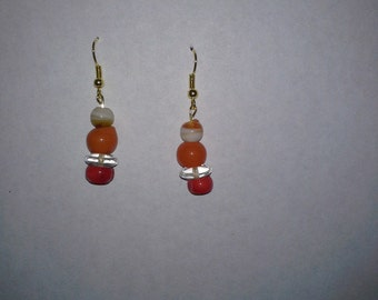 Handmade orange/white/clear ear drops