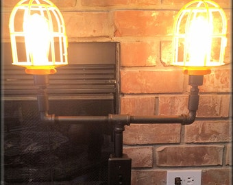 Steampunk Industrial furniture Lamp - Oil rubbed bronze - 2-lights