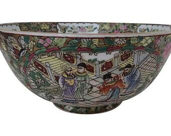 Antique Rose Medallion Palace Bowl,  Asian Bowl, Rose Medallion Bowl
