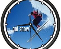 Snow Skiing Wall Clock Snow Skier Skis Boots Gloves