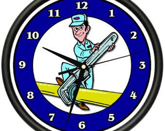 Pipefitter Wall Clock Plumber Toilet Pipes Pvc Tubes Sink Tubs Gag Gift