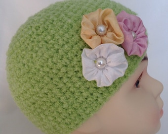 Hand Knit Toddler Hat, Hand Knit Doll Hat, Hand Knit Girls Hat, Hand Knit Hat, Knit Hat, Girls Knit Hat, Hand Knit Childs Hat, Childs Hat