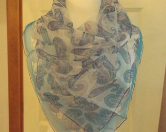 Blue Paisley Sheer Silk Scarf, Vintage, Retro, Womens Accessory, Blue With Pink