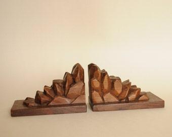 Old Bookends - Carved Wooden Bookends - Vintage Bookends - Bookends Wood - Wood Sculpture - Wood Art - Hand Carved Bookends - Wood Signed JB