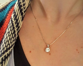 Sterling Silver + CZ Solitaire Necklace