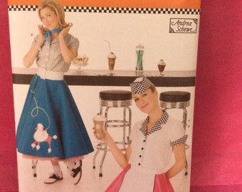 Simplicity 3847 Pattern/ Misses' Costume Pattern/ Poodle Skirt Pattern/ Sizes 6 -12 / Free U.S. Shipping