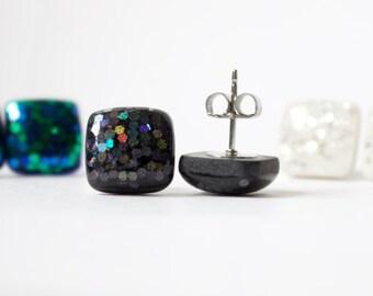 GALAXY GLITTER STUDS. black studs. black earrings. Surgical Steel Posts.