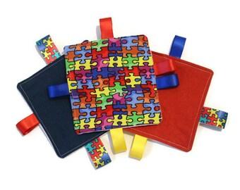 Crinkle Taggie Toy; Autism Awareness Crinkle Taggie Toy; Puzzle Taggie Toy; Sensory Taggie Toy