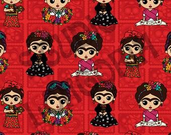 Red Frida  1/2 yd