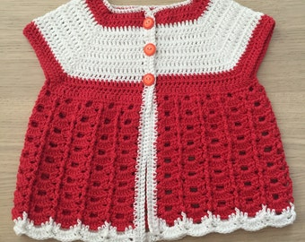 White and Red Baby Top
