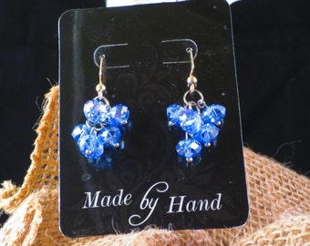 Blue crystal cluster earrings